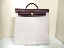 Authentic HERMES Ivory Dark Brown Her Bag MM Toile H Handbag Square G w/ Strap