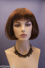 Red Auburn Medium Straight Bob Wig Bangs