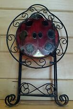 VTG Wrought Iron Glass Ladybug Top Retro Chic Outsider Art Folding Accent Table