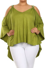 Women's Plus Size Top Sexy Off Shoulder High Low Top