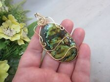 Hand crafted gold filled wire wrapped green turquoise stone pendant