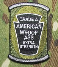 CAN OF AMERICAN WHOOP ASS US ARMY USA MILITARY ISAF MULTICAM VELCRO MORALE PATCH