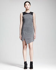 DEREK LAM 10 CROSBY DRESS GRAY STRETCH W/ LEATHER NEW 48 ASYMETRICAL HEM