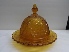 TIARA SANDWICH GLASS COVERED ROUND AMBER BUTTER DISH