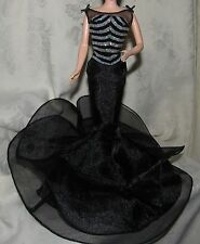BARBIE 40TH ANNIVERSARY BLACK SILVER GOWN DRESS FASHION FOR DOLL