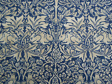 William Morris Curtain Fabric 'Brer Rabbit' 3.65 METRES Indigo/Vellum Linen Mix
