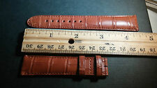 Montblanc alligator watch band 19/17mm, BROWN/tan, brown stitch, SWISS MADE