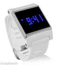 LED Watch Touch Screen Time Date Silicon Rubber Unisex Detatchable White Strap