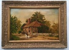 Signed Antique Vintage Original Oil Painting English Landscape with Horse