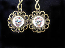 """HANDMADE Goth Style DAY OF THE DEAD BP 2.5"""" Sugar SKULL Dome Earrings"""