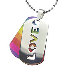"Pride Shack - ""Love"" Rainbow Lesbian / Gay Pride LGBT Pendant Necklace Dog Tag"