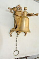 "Front Door Bell pull chain solid aged brass old vintage style 6 "" hang NICE"