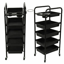 Salon Hairdresser 5 Drawer Coloring Hair Trolley Beauty Spa Rolling Storage Cart