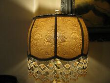 "Victorian French Lg Floor Table Lamp Shade ""Gold/ Rose""  6"" Beads"