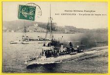 """cpa TOULON en 1911 MARINE MILITAIRE FRANÇAISE Bateaux TORPILLEUR """"CHEVALIER"""""""