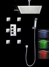 "Luxury Bathroom Shower Set LED 16""Rain Shower Head Set Body Massage Spray Jets"