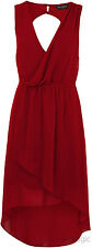 Miss Selfridge Red Zip Drape Dress 10 38 Hi Lo Dipped Hem Wrap Bust Chiffon New