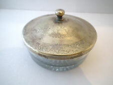 Vintage Glass and Brass Top Powder Jar Trinket Box