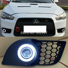 2x LED Daytime Fog Lights Projector+angel eye kit For Mitsubishi Lancer EX 08-12