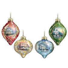 "Thomas Kinkade ""Light Up The Season"" Lighted Glass Ornaments mini LED lights"