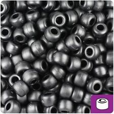 500 Black Matte 9x6mm Barrel Plastic Pony Beads Made in the USA
