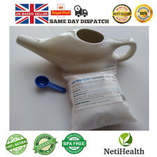 Ceramic Neti Pot + 300g Organic Neti Salt. Nasal Irrigation Health ~ UK DELIVERY