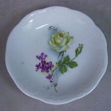 Antique Porcelain Embossed White Rose Violets Butter Pat/Dish