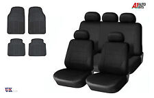 BLACK CAR SEAT COVERS & RUBBER CAR MATS SET FOR FORD FIESTA FOCUS MONDEO CONNECT