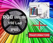 5M Striscia led smd 5050 RGB + Trasformatore +Centralina telecomando MULTICOLORE