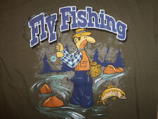 Fly Fishing Man In River Funny Trout Green Graphic T Shirt - L