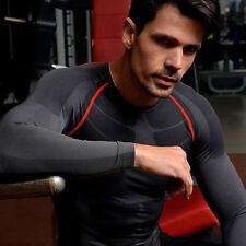 Mens Compression Armour Base Layer Tops Sport Tight Thermal Long Sleeves T-Shirt