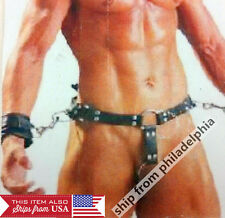 Leather Men's thong Belt with Hands wrist cuffs Underwear dick ring sexy