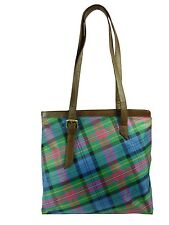 Pell Mell Ladies Leather Tote Bag Purple/Blue Tartan  NEW  20345