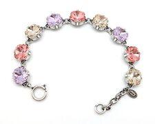 CATHERINE POPESCO 12mm Violet Peach Silk LIMITED Swarovski Silver Bracelet Adj