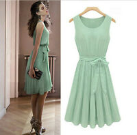 Retro 50s Mint Green Sleeveless Belted Pleated Chiffon Party Casual Dress werks9