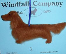 Red Long Coat Dachshund Dog Plush Christmas Canine Ornament # 1 by WC