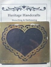 HALLINAN solid brass embossing stencil template -xl heart frame love valentine