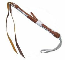 DELUXE MEXICO HEAVY DUTY BROWN & WHITE REAL LEATHER RIDING HORSE CROP  new whip