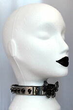 DOG COLLAR NECK BAND STUDS LEATHER goth choker punk fetish emo skull butterfly