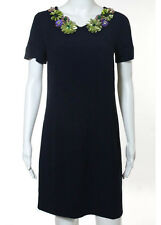 Moschino Navy Embellished Collared Short Sleeve Loose Fit Short Shift Dress Size