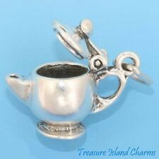 TEAPOT TEA POT KETTLE MOVABLE 3D .925 Sterling Silver Charm OPENS MADE IN USA