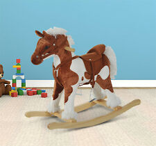 Qaba Children Rocking Plush Horse Toy Pony Wooden Ride Rocker Toddlers w/ Sound