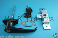 FREE P&P* Black L Handle & Universal Lock for Horse Box & Caravans & Trailers