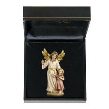 Guardian Angel Watching Girl - Woodcarving With Case, German Italian Artwork
