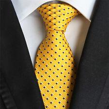 Classic Mens Silk Tie Necktie Yellow blue Polka Dots Woven JACQUARD Neck Ties