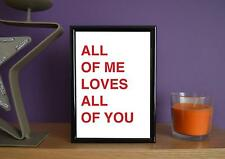 Framed - John Legend - All Of Me Simple - Poster Art Print - 5x7 Inches