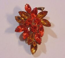 Vintage Juliana Style Gold Tone Two Color Orange Glass Rhinestone Pin Brooch