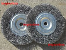 2 PC 6'' STEEL WIRE  WHEEL BRUSH, CRIMPED 5/8''&1/2'' BORE FOR BENCH GRINDER