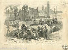 England Explosion Grisou Firedamp flammable gas coal mines GRAVURE PRINT 1866