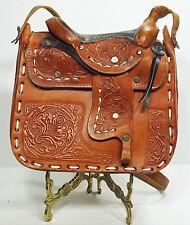 Purse Hand Tooling Floral Images Stamped Leather Saddle Handbag (2L3B22*)